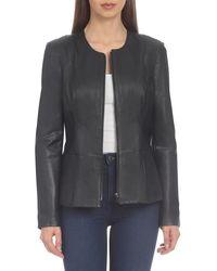 Badgley Mischka Genuine Leather Peplum Jacket - Black