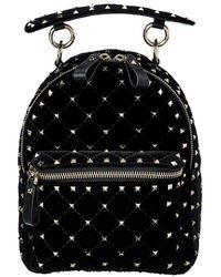 Valentino Garavani Rockstud Spike Velvet & Leather Backpack - Black
