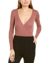 Enza Costa Ribbed Overlap Silk-blend Bodysuit - Pink