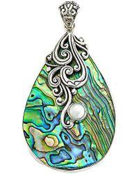 Samuel B. Silver Abalone & 4mm Pearl Pendant - Multicolor