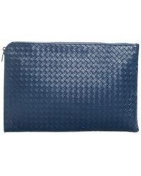 Bottega Veneta Blue Intrecciato Leather Document Portfolio Clutch