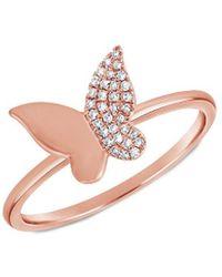 Sabrina Designs 14k Rose Gold Diamond Butterfly Ring - Pink