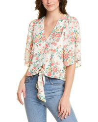 1.STATE Ikat Bouquet Flounce Sleeve Top - White