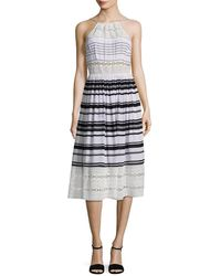 Tracy Reese Printed Lace Inset Midi Dress - Multicolour