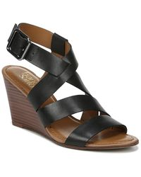 Franco Sarto Yara Leather Wedge Sandal - Black