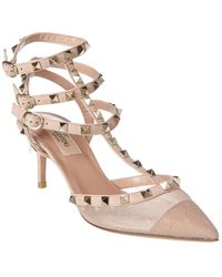 Valentino Rockstud Caged 65 Mesh & Leather Ankle Strap Pump - Multicolour
