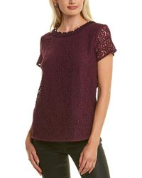 Karl Lagerfeld Mixed Media Lace Top - Purple