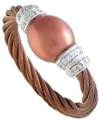 Charriol Stainless Steel Pearl & Cz Ring - Multicolour