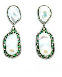 Arthur Marder Fine Jewelry 2.73 Ct. Tw. Diamond, Emerald, & 26-13mm Pearl Earrings - Green