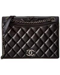Chanel Black Quilted Lambskin Leather Shoulder Bag