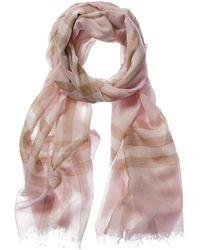 Burberry Lightweight Check Wool Silk Scarf - Multicolour