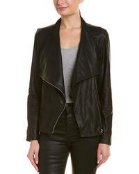 Lamarque Mira Drape Leather Jacket - Black