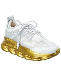 Versace Chain Reaction Leather & Mesh Trainer - White