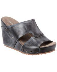 Antelope 757 Leather Wedge Sandal - Black