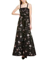 ML Monique Lhuillier Floral Jacquard Gown - Black