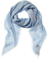 Fendi Ff Logo Silk-blend Scarf - Blue