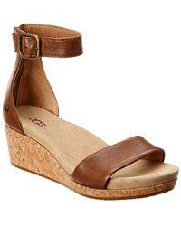 UGG Zoe Ii Leather Wedge - Brown