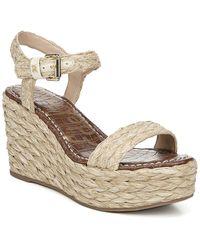 Sam Edelman Women's Deena Raffia Wedge Heel Platform Sandals - Natural