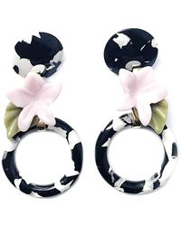 Lele Sadoughi 14k Plated Small Hibiscus Hoops - Blue
