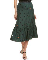 Chinti & Parker Painted Spot Silk Midi Skirt - Green