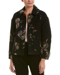 Rebecca Taylor Printed Wool-blend Coat - Black