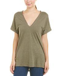BCBGMAXAZRIA High-low Linen-blend T-shirt - Green