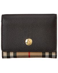 Burberry Small Vintage Check & Leather French Purse - Black