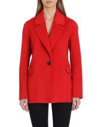 Badgley Mischka Double Face Wool Blend Blazer (regular & Petite) - Red