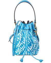 Fendi Mon Tresor Mini Ff Vertigo Canvas & Leather Bucket Bag - Blue