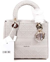Dior Grey Cannage Canvas Lady D-lite Satchel Nm, Never Carried