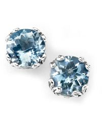 Samuel B. Silver 3.90 Ct. Tw. Prasiolite Studs - Blue