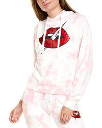 Chrldr Lips Crop Pullover Hoodie - Pink