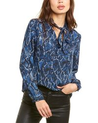 Nine West Tie-neck Tunic Blouse - Blue