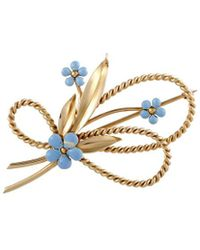 Cartier - Cartier 14k Yellow Gold Turquoise Brooch - Lyst