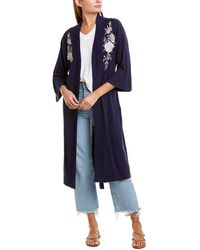 Johnny Was Floral Embroidered Silk Blend Knit Robe - Blue