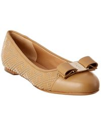 Ferragamo Varina Studded Leather Ballet Flat - Brown