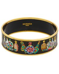Hermès Gold-plated & Printed Enamel Wide Bangle - Multicolour