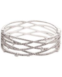 Carolee Crystal Coves Cz Pave Hinged Cuff - Metallic