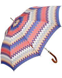 Missoni Matteo Zig Zag Automatic Umbrella - Blue