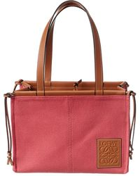 Loewe Cushion Small Canvas & Leather Tote - Red