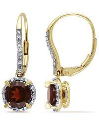 Rina Limor 10k 2.10 Ct. Tw. Diamond & Garnet Earrings - Metallic