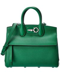 Ferragamo Studio Leather Satchel - Green