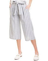 BCBGMAXAZRIA Tie-waist Linen-blend Culotte - Blue