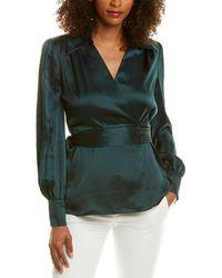 Elie Tahari Shay Silk Top - Green