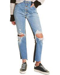 Amiri Leather-trim Crop Flare Jean - Blue