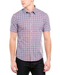 Zachary Prell Starr Regular Fit Check Short Sleeve Button-up Shirt - Red