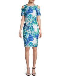 Calvin Klein Floral Cold-shoulder Dress - Blue