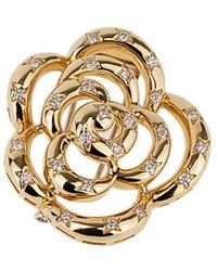 Van Cleef & Arpels Vintage Van Cleef & Arpels 18k Diamond Flower Brooch - Metallic
