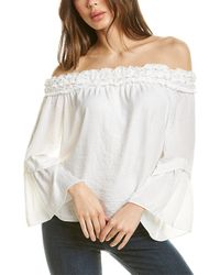 Vince Camuto Bell-sleeve Off-shoulder Pleated Top - White