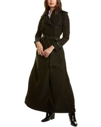 Burberry Extra Long Taffeta & Leather-trim Trench Coat - Black